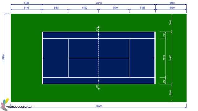 Kích thước của sân tennis